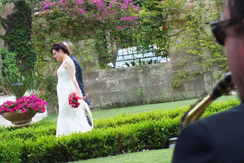 Sax per l'accoglienza degli sposi a Castello Monaci