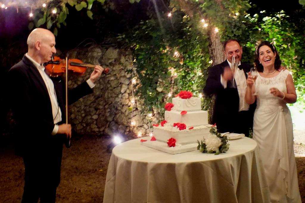 violinista per la musica del taglio torta al matrimonio