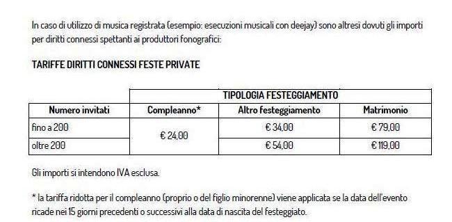 Tariffe e diritti connessi per musica registrata SIAE matrimoni 2019